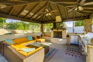 patio cover with fire place